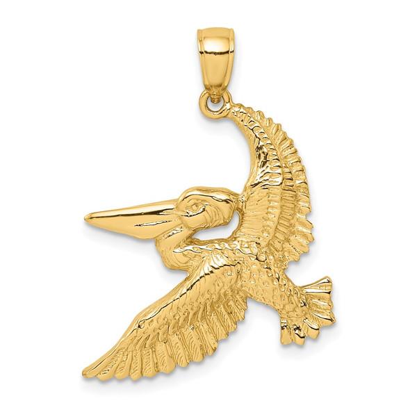 14k Yellow Gold 2-D Flying Pelican Pendant K8062