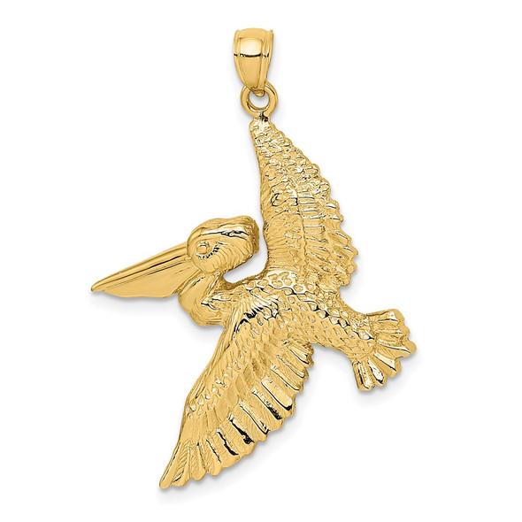 14k Yellow Gold 2-D Flying Pelican Pendant K7948
