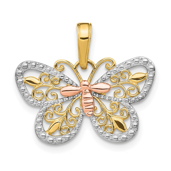 14k Yellow and Rose Gold with Rhodium Diamond-cut Butterfly Pendant K4832
