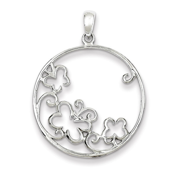 Sterling Silver Rhodium Plated Butterfly Circle Pendant