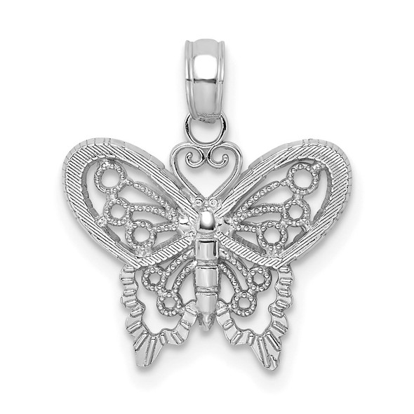 10k White Gold Polished Butterfly Pendant
