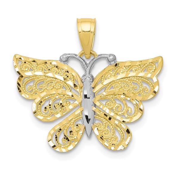 10k Yellow Gold w/ Rhodium Butterfly Pendant 10C1008