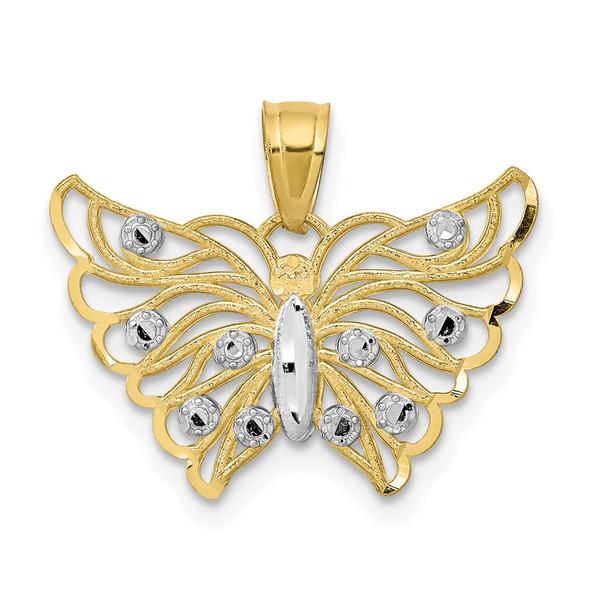 10k Yellow Gold w/ Rhodium Butterfly Pendant 10C1006