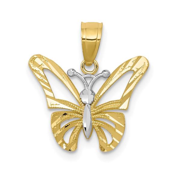 10k Yellow Gold w/ Rhodium Butterfly Pendant 10C1005