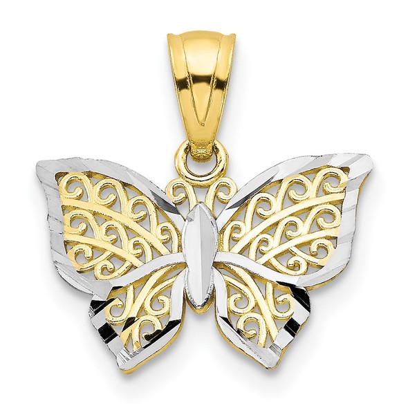 10k Yellow Gold w/Rhodium Butterfly Pendant 10C1001