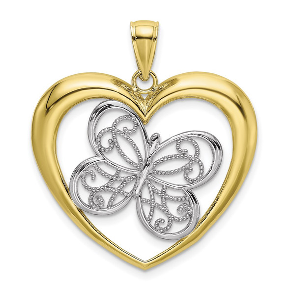 10k Yellow Gold With Rhodium-Plating Butterfly In Heart Pendant