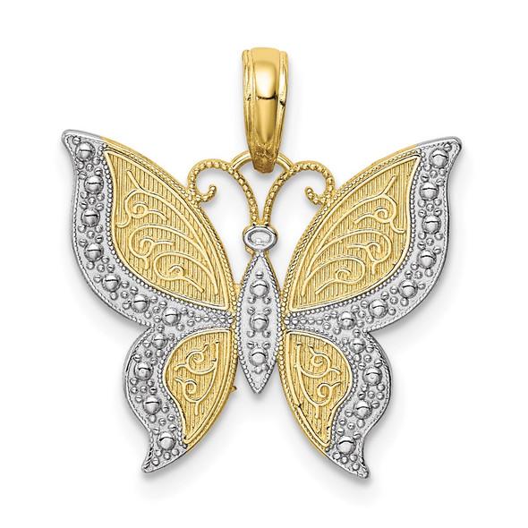 10k Yellow Gold w/ Rhodium Butterfly Pendant 10K4242