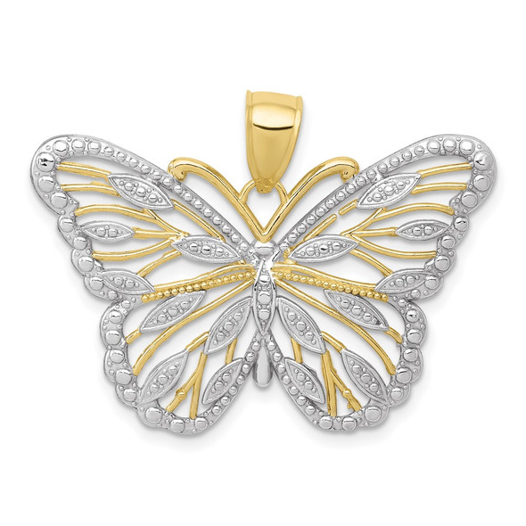 10k Yellow Gold W/Rhodium Butterfly Pendant 10K4834