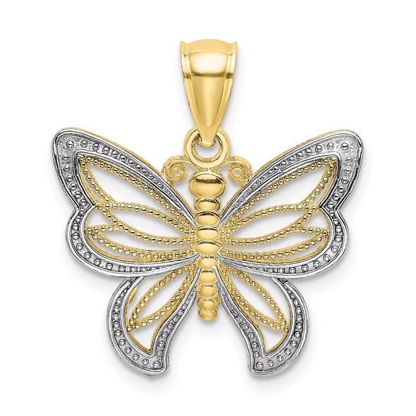 10k Yellow Gold with Rhodium-Plating Butterfly w/White Beaded Wings Pendant