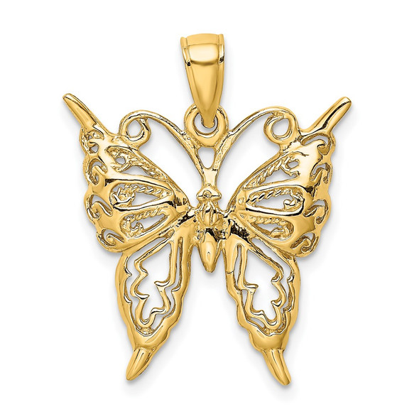 14k Yellow Gold 2-D Cut-Out Butterfly Pendant