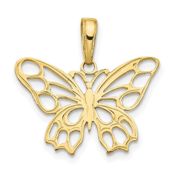 10k Yellow Gold Butterfly Cut-Out Pendant