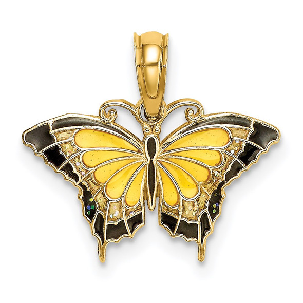 14k Yellow Gold Small Enameled Yellow Butterfly Pendant