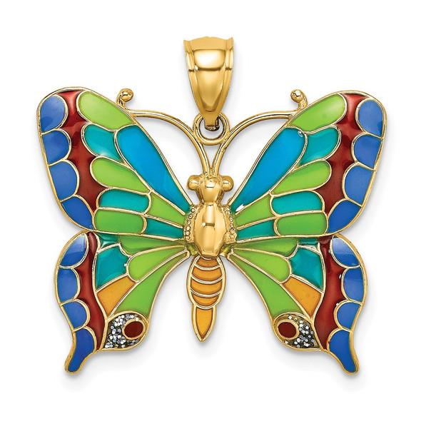 14k Yellow Gold Enameled Butterfly Pendant K8640