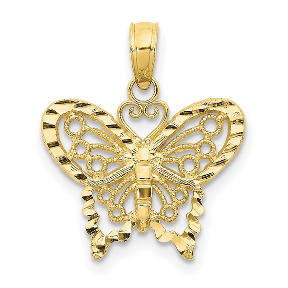 10k Yellow Gold Diamond-cut Butterfly Pendant 10D4207