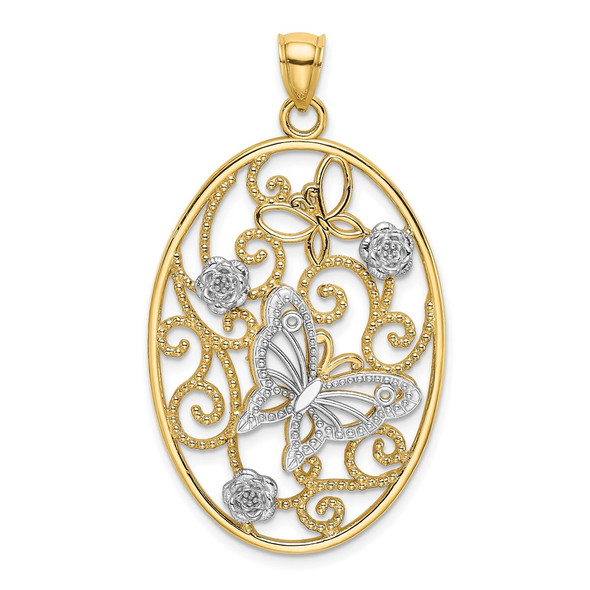 14k Gold with Rhodium Butterfly and Flower Cluster Oval Frame Pendant K9523