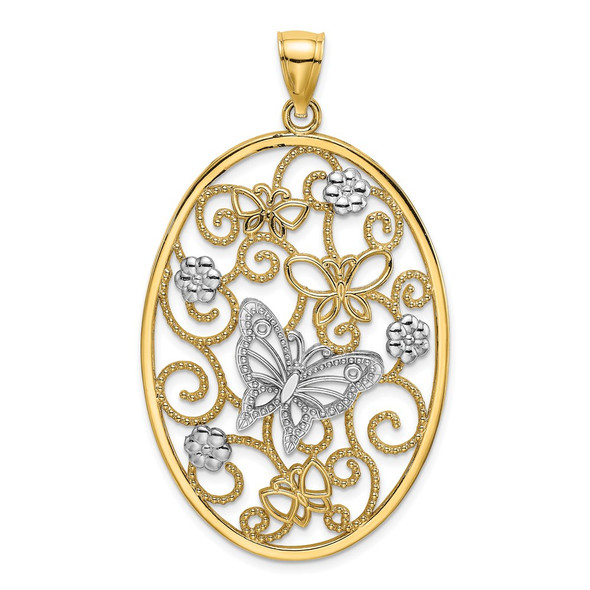 14k Gold with Rhodium Butterfly and Flower Cluster Oval Frame Pendant K9522