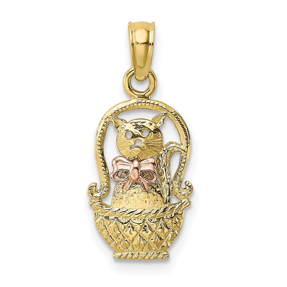 10k Yellow and Rose Gold Cat w/ Bow In Basket Pendant