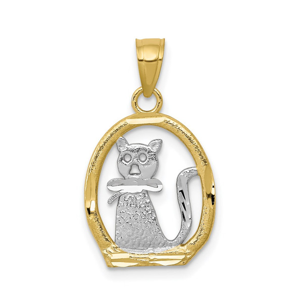 10k Yellow Gold With Rhodium-Plating Cat Pendant