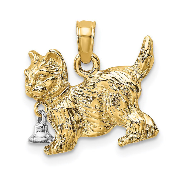 14k Gold with Rhodium 3-D Cat w/Dangling Bell Pendant K9470