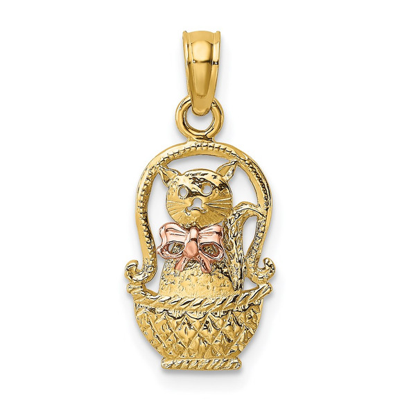 14k Two-tone Gold Cat w/Bow In Basket Pendant