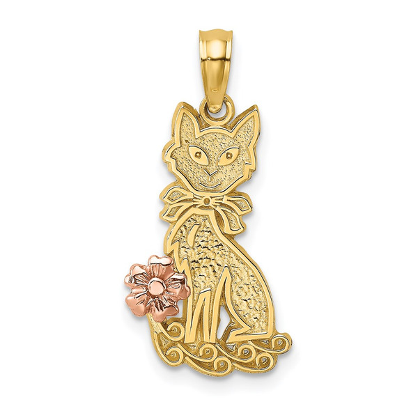14k Two-tone Gold Sitting Cat w/ Bow and Flower Pendant