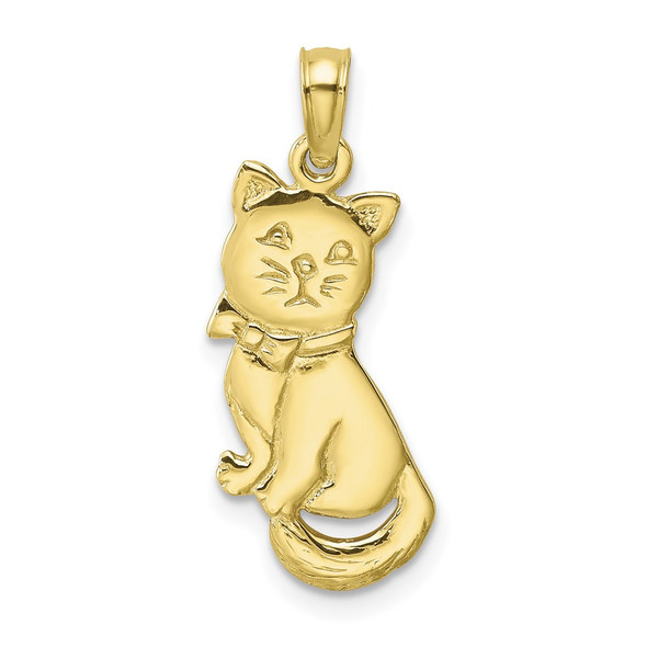 10k Yellow Gold 3-D Polished and Bow Sitting Cat Pendant