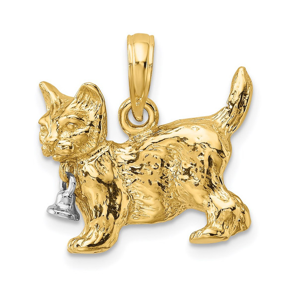 14k Gold with Rhodium 3-D Cat w/Dangling Bell Pendant K9262