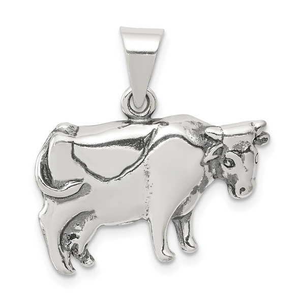 Sterling Silver Antiqued Cow Pendant