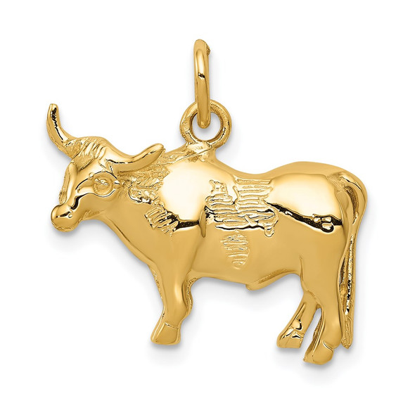 14k Yellow Gold Steer Pendant