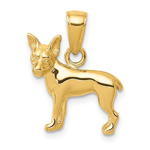 14k Yellow Gold Chihuahua Dog Pendant