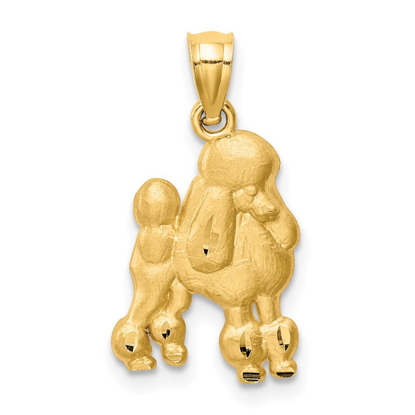 14k Yellow Gold Diamond-Cut Poodle Pendant