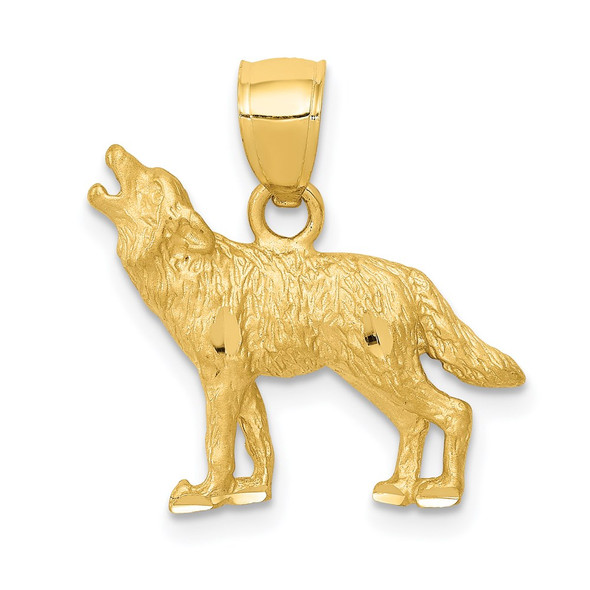 14k Yellow Gold Diamond-Cut Wolf Pendant