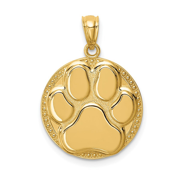 14k Yellow Gold Dog Paw Medal Pendant