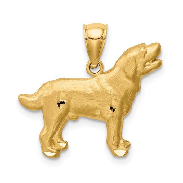 14k Yellow Gold Diamond-Cut Labrador Retriever Pendant
