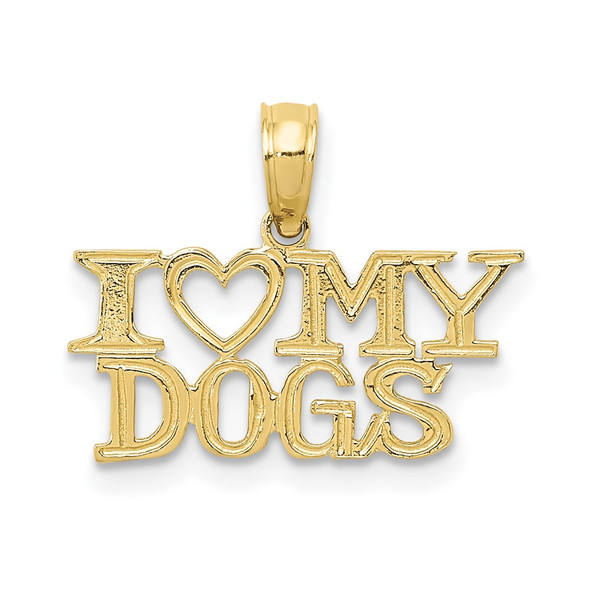 10k Yellow Gold I Heart My Dogs Pendant