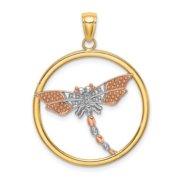 14k Yellow and Rose Gold with Rhodium Textured Dragonfly in Round Frame Pendant