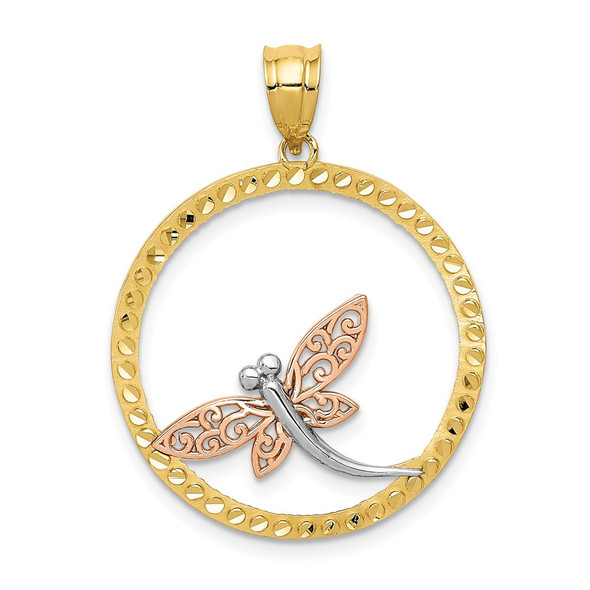 14k Yellow and Rose Gold with Rhodium Dragonfly Pendant