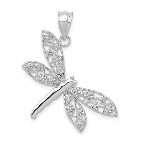 14K White Gold Diamond-cut Dragonfly Pendant