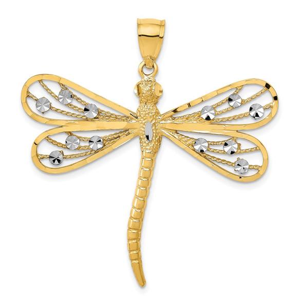 14k Yellow and White Gold Diamond-cut Filigree Dragonfly Pendant