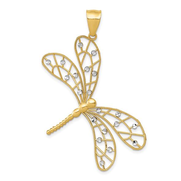 14k Yellow and White Gold Polished Diamond-cut Filigree Dragonfly Pendant