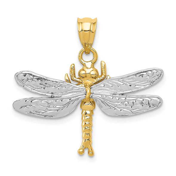 14k Yellow and White Gold Dragonfly Pendant