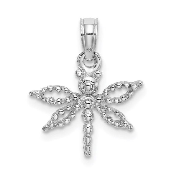 14k White Gold 2-D Mini Dragonfly W/Cut-Out Wings Pendant
