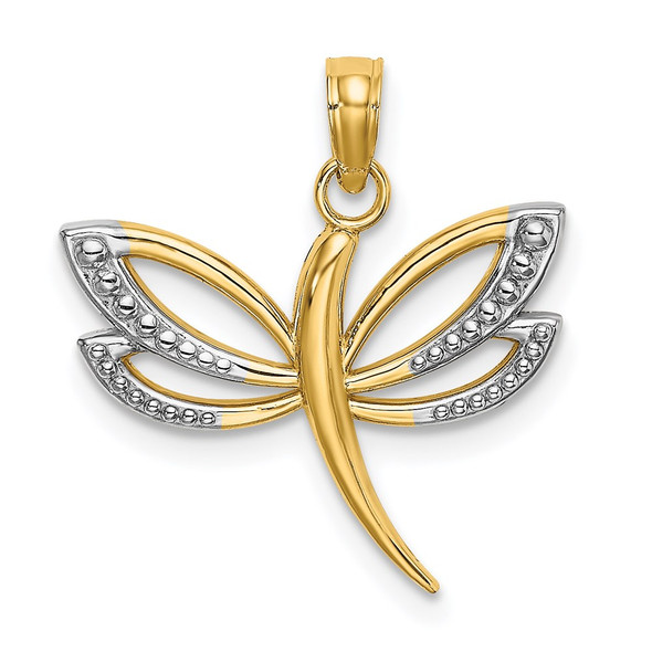 14k Yellow Gold And Rhodium Textured Dragonfly Pendant