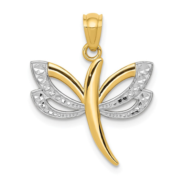 14k Yellow Gold And Rhodium Dragonfly Pendant