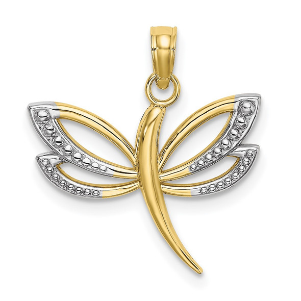 10k Yellow Gold With Rhodium-Plating Textured Dragonfly Pendant