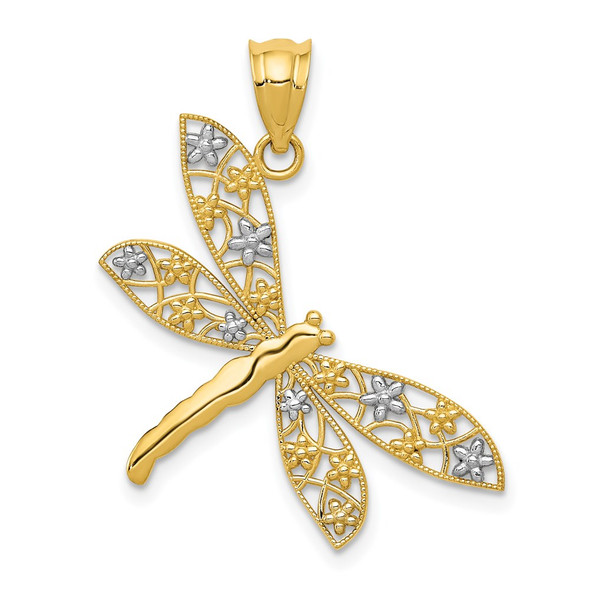 14k Yellow Gold And Rhodium Filigree Dragonfly Pendant