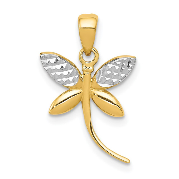 14k Yellow Gold And Rhodium Diamond-Cut And Polished Dragonfly Pendant