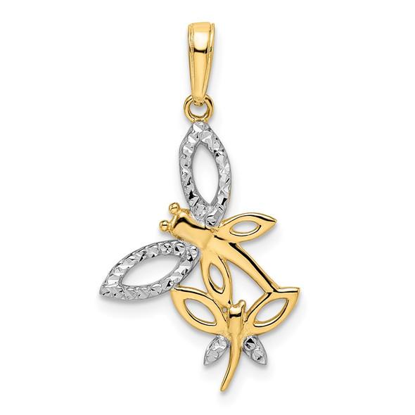 14k Yellow Gold and White Rhodium Diamond-cut Dragonflies Pendant