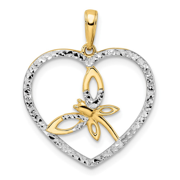 14k Yellow Gold and White Rhodium Diamond-cut Dragonfly in Heart Pendant