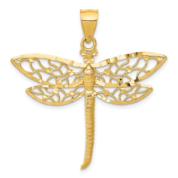 14k Yellow Gold Diamond-cut Fancy Dragonfly w/Cutout Wings Pendant
